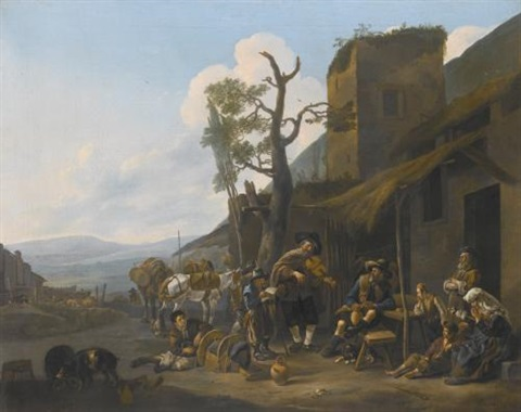 a southern landscape with a violinist entertaining revellers outside a tavern by johannes lingelbach