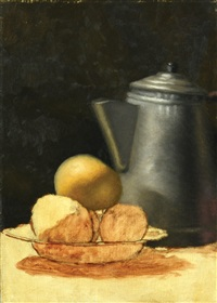 fruits and jar on a table by aram gershuni