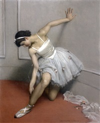 ballerine ajustant son chausson by auguste leroux