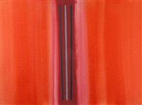 abstract composition, vertical stripes on an orange background by william perehudoff