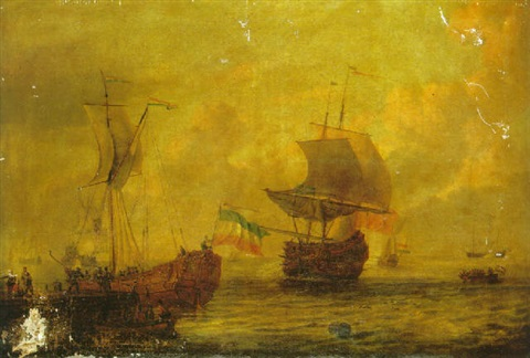 a dutch states yacht moored to a quay with sailors in a towing boat in the foreground a british man owar and other vessels at sea by adam silo