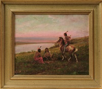 indians at campfire at sunset by william de la montagne cary
