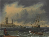 shipping at anchor riding out a gale off the mouth of the tyne, with the ruins of tynemouth priory and the old lighthouse on the headland by william anderson