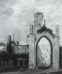 figures and cattle before a ruined abbey by joseph rhodes