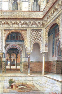courtyard in a moorish palace, sevilla by josé arias