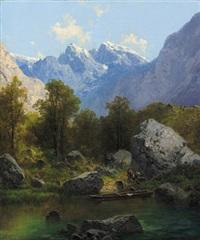 partie vom obersee bei berchtesgaden by adolf müllner