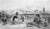 händler, bauern und ein andalusischer reiter, im hintergrund granada by carl goebel