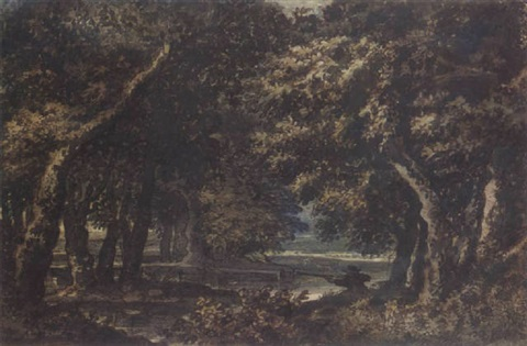wooded landscape with a hunter shooting duck by jacob van liender