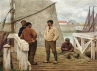 pêcheurs à l'estacade de zeebruges by edgard farasyn
