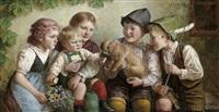 kinder füttern einer welpen by edmund adler