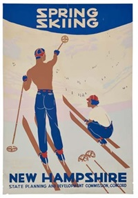 spring skiing/new hampshire (poster) by posters: sports - skiing