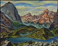 looking to cathedral mountain from opabin meadows near lake o'hara, bc by james (jock) williamson galloway macdonald