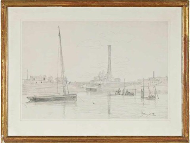 bateaux devant les usines by johan barthold jongkind