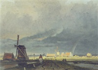 figure on a path near a windmill by arnoldus johannes eymer
