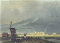 figure on a path near a windmill by arnoldus johannes eymer