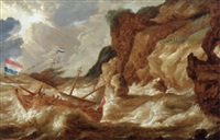 a man-o`-war foundering off a rocky coastline in a storm by bonaventura peeters the younger