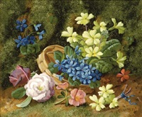 flowers in a basket on a mossy bank by horace mann livens