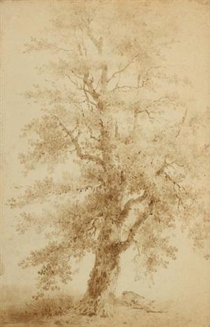 un homme endormi au pied dun grand arbre by jean baptiste le prince
