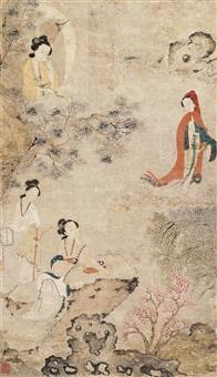 仕女图 立轴 设色纸本 by qiu ying