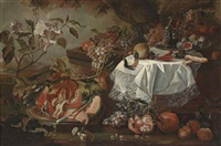 a cut pumpkin on a silver platter, figs, wine glasses and pastries on a draped plinth, with pomegranates, apples, grapes and other fruit, in a landscape by maximilian pfeiler