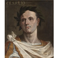 portrait of julius ceasar wearing a toga and a laurel wreath by bernardino campi