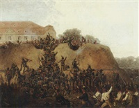 a military seige by a mansion by gustav otto müller