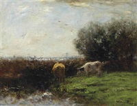 cows in dutch polder landscape by willem maris