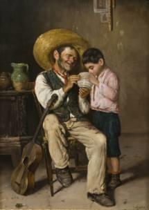 interno con vecchio e bambino by guilio amodio