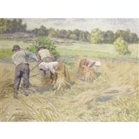 harvesters in a landscape by emil (harald emanuel) lindgren