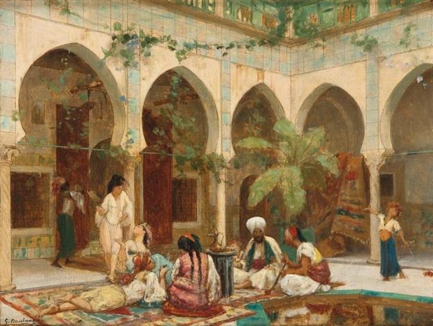 la cour de palais de dar khdaouedj el amia alger preparatory sketch lrgr 2 works by gustave clarence rodolphe boulanger