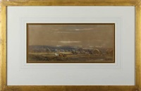 horses in a country landscape (+ cattle in a country landscape; 2 works) by henry (sr.) earp