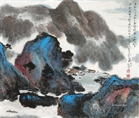 溪壑幽居 立轴 设色纸本 ( creek house) by yang shanshen