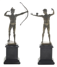 standing male; standing archer (2 works) by victor bugler