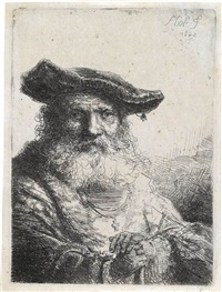 old man with a flowing beard and velvet cap by ferdinand bol