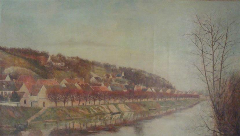 village au bord de la rivière by georgette agutte