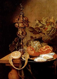 a still life of fruit, oysters and a roemer, all      upon a ledge by harmen loeding