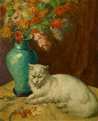 white cat by a vase of flowers by mischa askenazy
