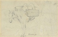 study of a donkey laden with panniers and accompanying figure by thomas gainsborough