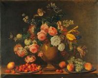 natura morta con fiori, ciliegie, pesche ed uva by e. le gry