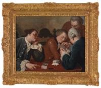 eine karten spielende gesellschaft by carlo amalfi
