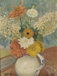 oppstilling med blomster i vase by per gjemre