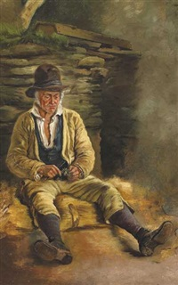 study of a man seated outside a cottage by james brenan