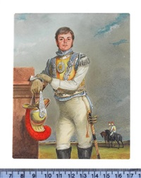 an officer of the carabiniers, wearing armoured breastplate over white coat, silver epaulette and leather gloves, he holds a plumed helmet by michael bartlett