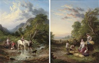 crossing the stream (+ tired gleaners; pair) by john anthony puller