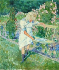 garden in flower with reading girl on a bench by christian tetzen-lund