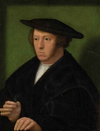 portrait of a gentleman in a fur-lined black mantle and hat, a flower in his right hand by adriaen isenbrant