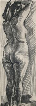 stehender weiblicher rückenakt, den haarschweif fassend by curt querner