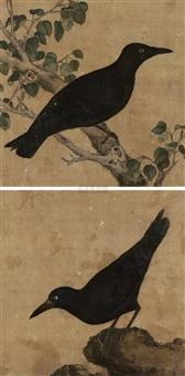 花鸟 (2 works) by wu kuan