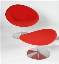 fauteuil & ottoman modèle dit little globe by pierre paulin