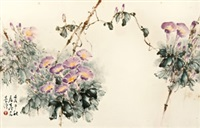 牵牛花 镜片 设色纸本 by huang leisheng